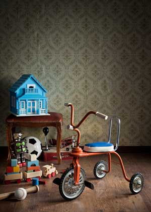 Vintage-colorful-tricycle and other old toys
