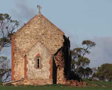 Crumbling old stone church